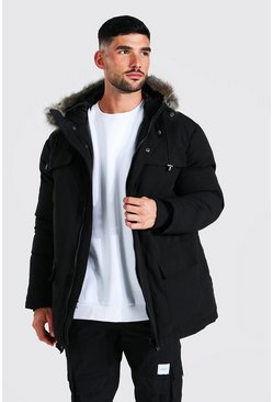 Black Faux Fur Hooded Arctic Parka