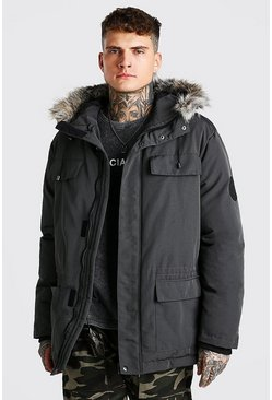 Charcoal Faux Fur Hooded Arctic Parka