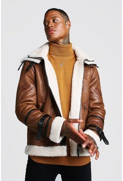 Mens Tan Double Collar Flight Jacket