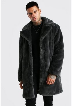 Mens Slate Faux Fur Overcoat