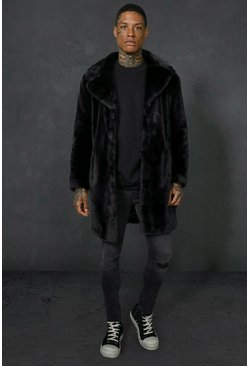 Mens Black Faux Fur Overcoat