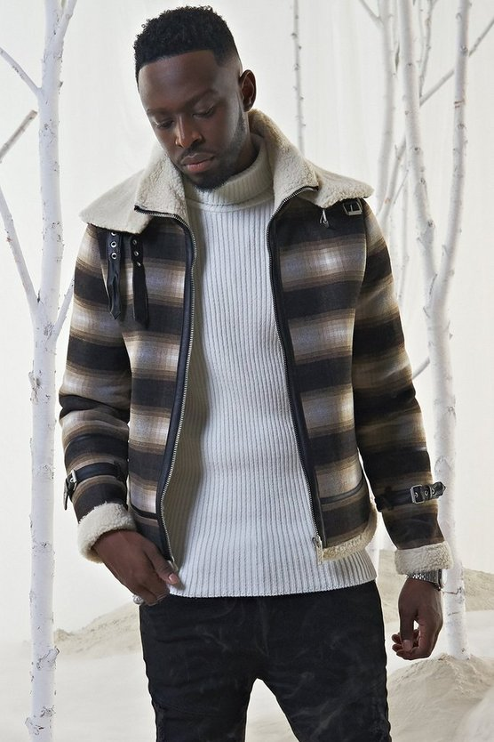 Brown Check Flight Jacket With PU Binding