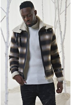 Mens Brown Check Flight Jacket With PU Binding