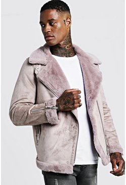 Pink Faux Fur Lined Suede Aviator