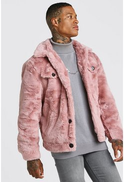 Mens Dusky Faux Fur Trucker Jacket
