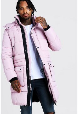 Mens Dusky pink Hand Filled Longline Artic Puffer