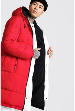 Mens Red Filled Reversible Longline Puffer