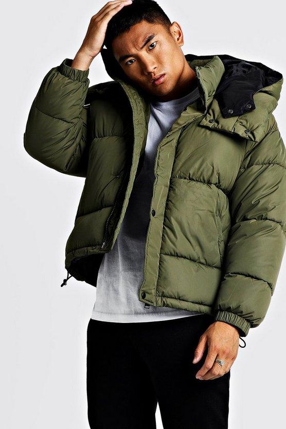Oversized Hood Contrast Lining Puffer by Boohoo Man