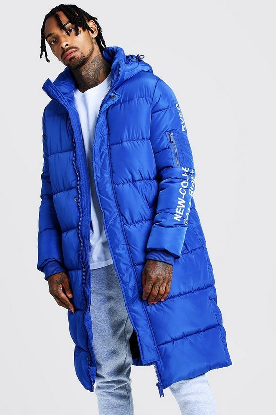 Mens Cobalt Hooded Longline Puffer With Print