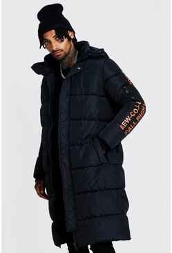 Mens Black Hooded Longline Puffer With Print