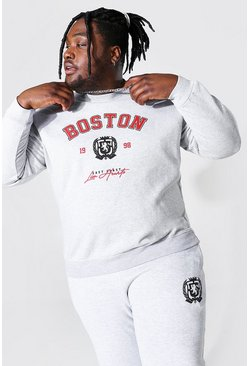 Plus Size Boston Varsity Print Sweatshirt, Grey marl
