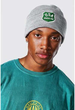 Varsity Badge Micro Beanie, Grey marl