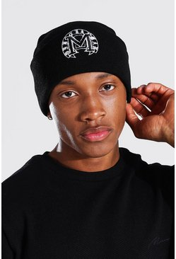 Varsity Embroidered Skater Beanie, Black