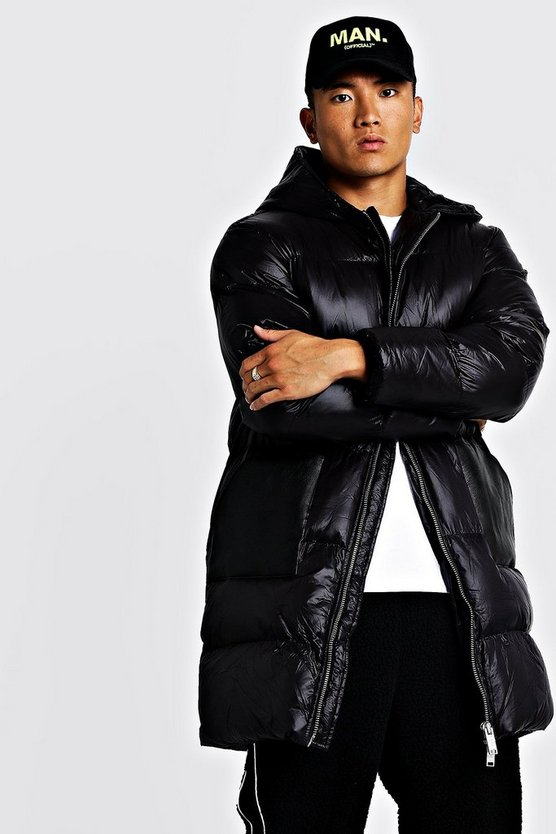 Mens Black Longline Matte Look puffer