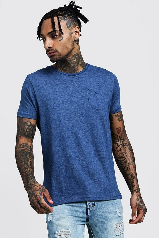 Crew Neck Marl T-Shirt With Pocket