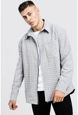 Mens Stone Oversized Check Harrington