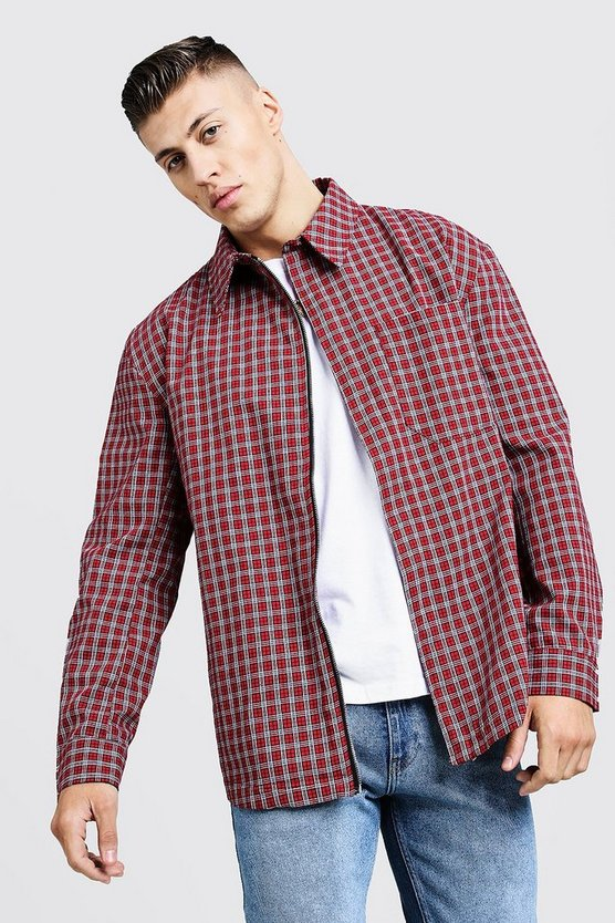 Mens Red Oversized Check Harrington