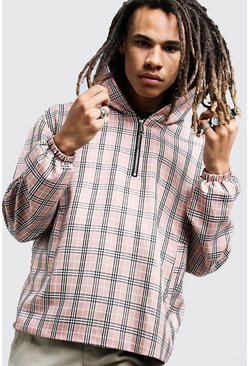 Mens Blush Check Half Zip Hooded Jacket