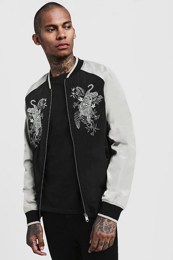 Embroidered Contrast Bomber Jacket