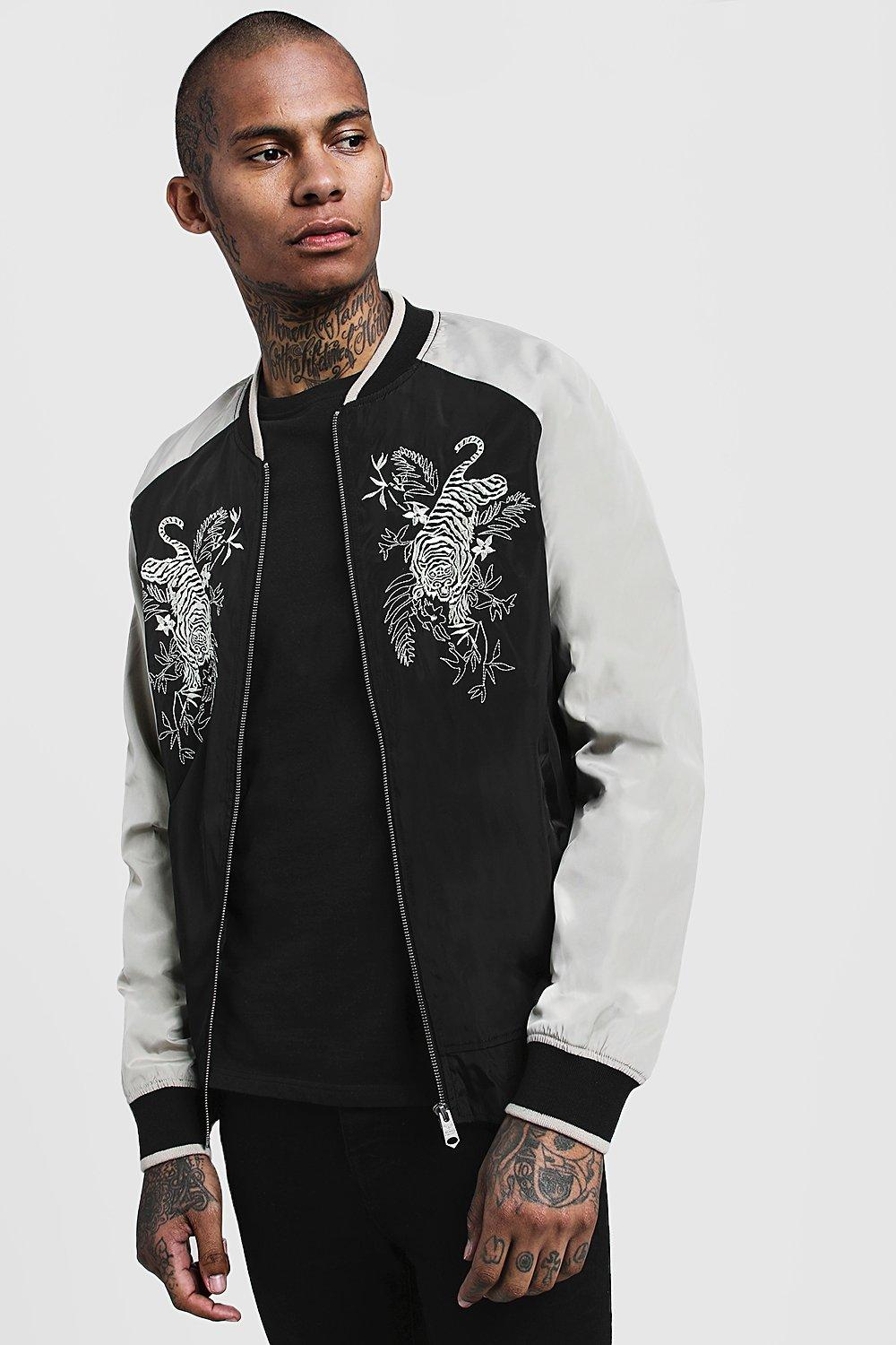 942238076 Embroidered Contrast Bomber Jacket - boohooMAN
