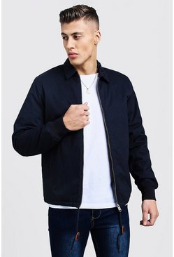 Mens Navy Quilted Check Lined Coach Jacket