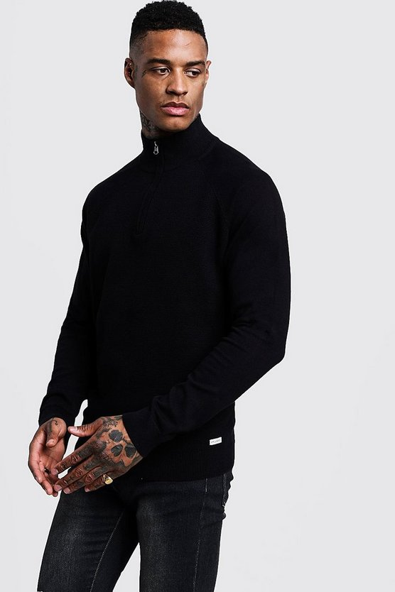 Muscle Fit Half Zip Turtle Neck Jumper