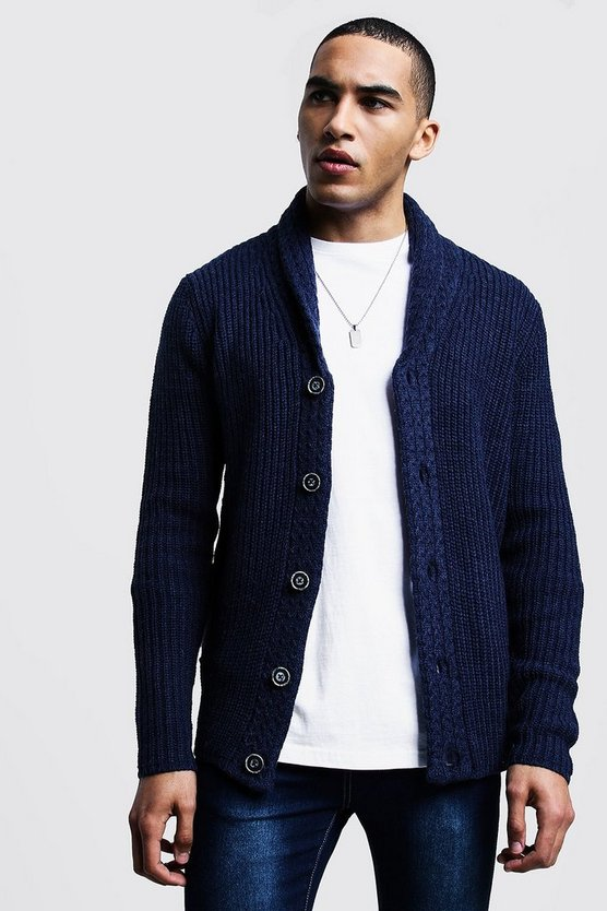 Shawl Neck Knitted Cardigan