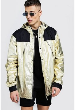 Mens Gold Metallic Hooded Windbreaker