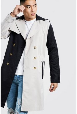 Contrast Double Breasted Trench, Multi, HERREN