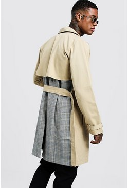 Mens Camel Check Contrast Double Breasted Trench