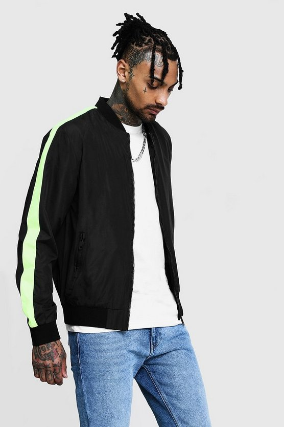 Neon Side Tape Bomber Jacket, Black