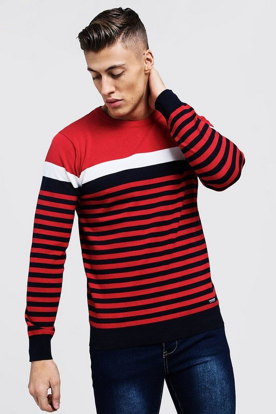 Mens Red Contrast Stripe Knitted Sweater