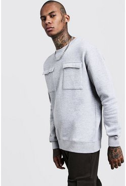 Mens Urban chic Loose Fit Utility Pocket Sweater
