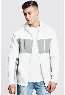 Mens Off white Regular Jersey Colour Block Zip Through Hoodie