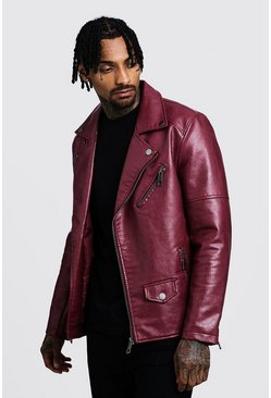 Mens Oxblood Faux Leather Biker Jacket