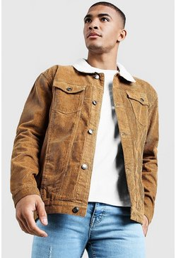 Mens Tan Borg Collar Cord Western Jacket