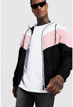 Mens Dusky pink Chevron Colour Block Zip Through Cagoule