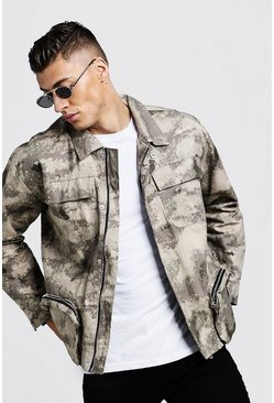 Mens Sand Blurred Camo Utility Field Jacket