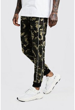 Mens Khaki Skinny Camo Trouser With Side Piping