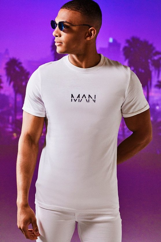 Mens White Original MAN Rolled Sleeve T-Shirt