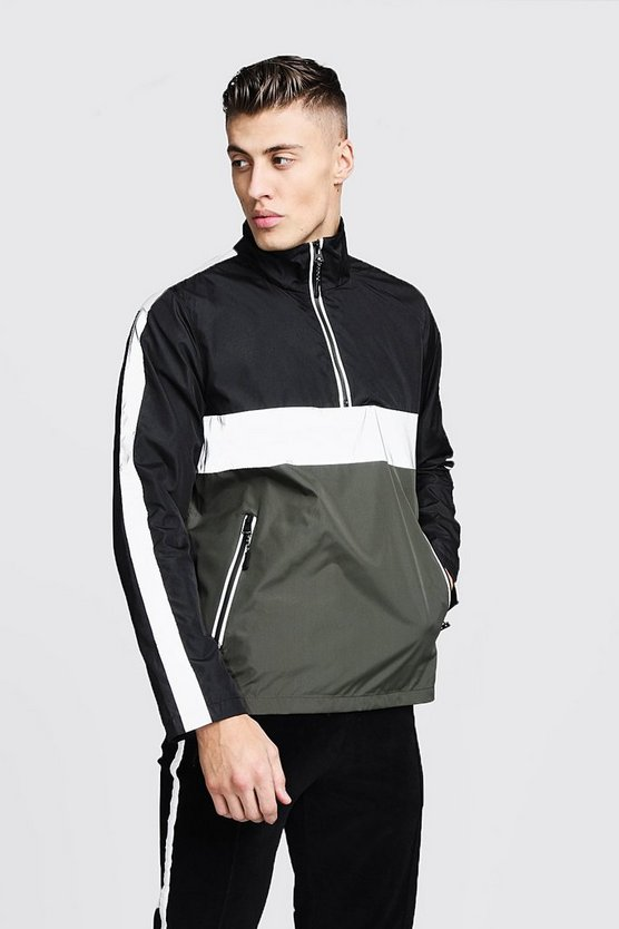 Khaki Reflective Panel Colour Block Cagoule