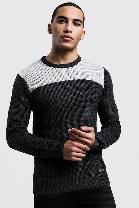 Colour Block Fisherman Knit Jumper