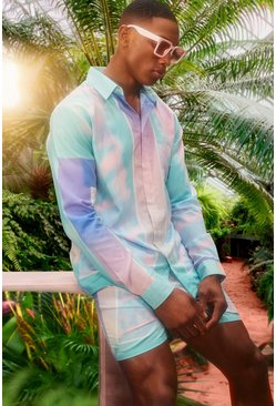 Mint Long Sleeve Viscose Tie Dye Border Shirt