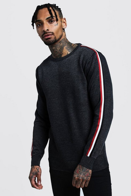 Charcoal Crew Neck Arm Stripe Jumper