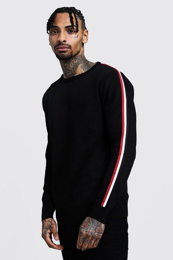 Crew Neck Arm Stripe Sweater