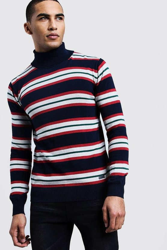 Navy Horizontal Stripe Roll Neck Sweater