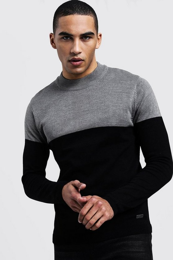 Mens Charcoal Colour Block Turtle Neck Jumper
