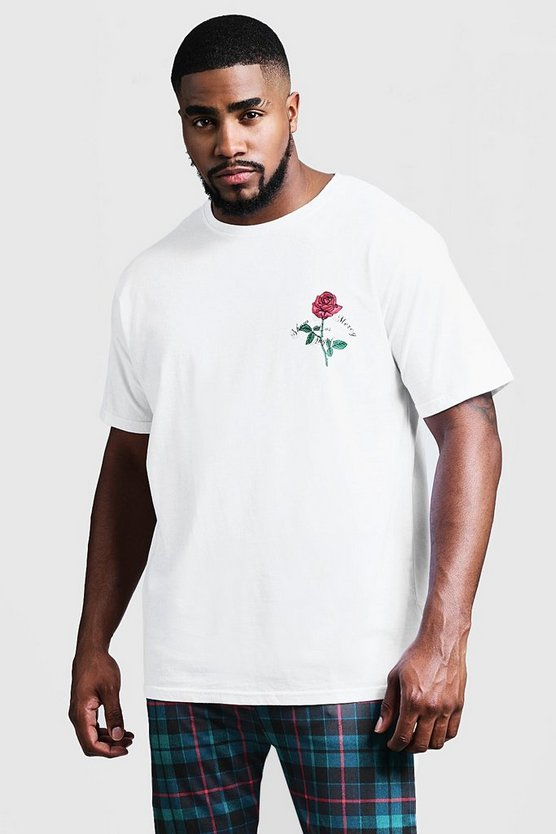White Big And Tall Rose Print T-Shirt