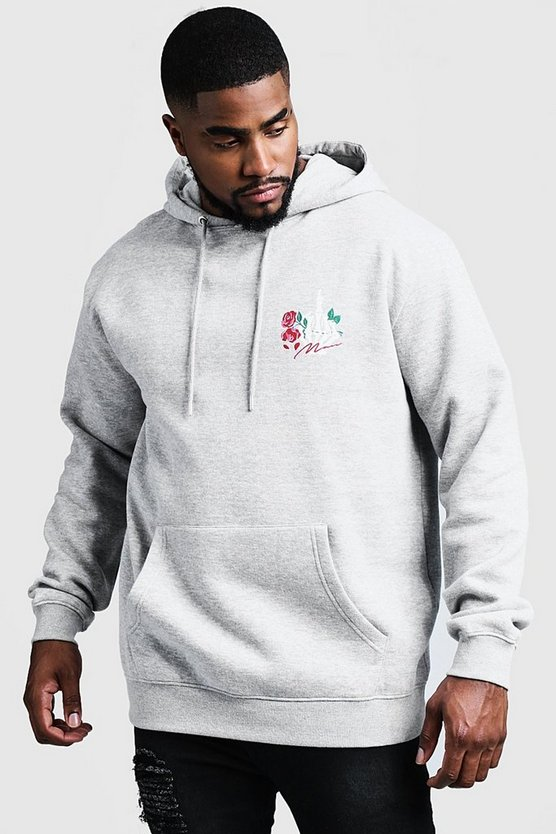 Grey marl Big And Tall MAN Script Skeleton Hoodie
