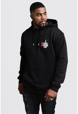 Big And Tall MAN Script Skeleton Print Hoodie, Black, HOMMES